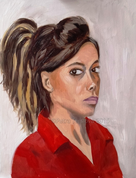 Self-portrait, oil on board, © 2015 Petra Terslova