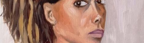 Self-portrait, oil on board, © 2015 Petra Terslova