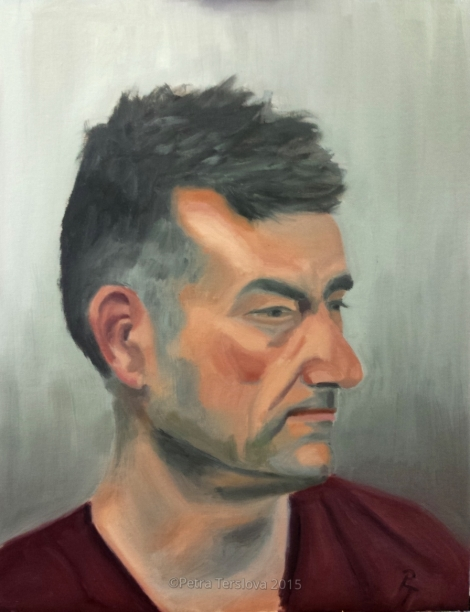 Portrait of a Man, oil on canvas board, 35cm x 45cm, © 2015 Petra Terslova