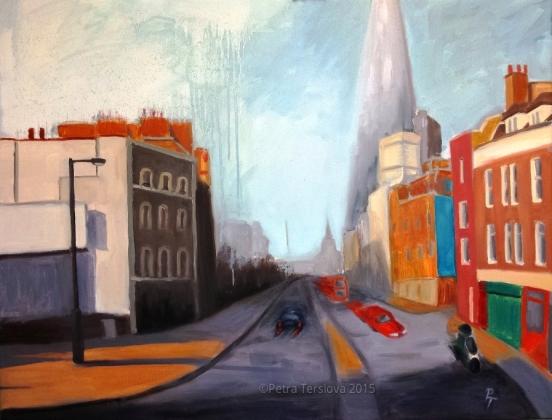 Borough High Street, 90 x 70 cm, oil on canvas, © 2015 Petra Terslova